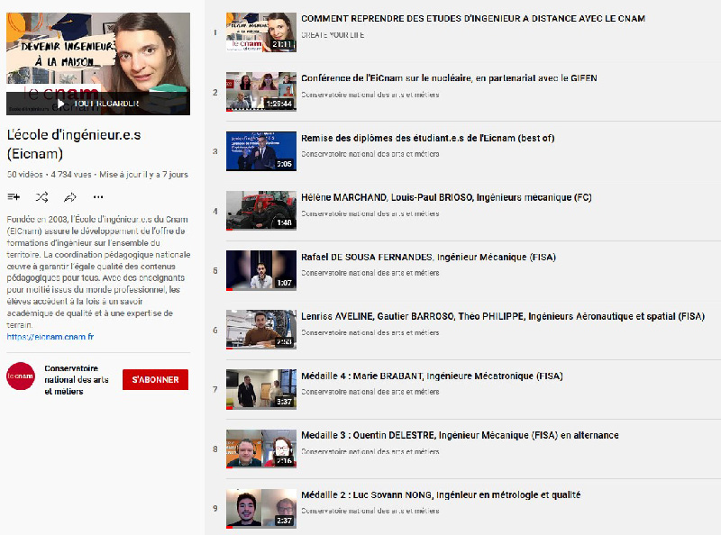 Chaine Youtube EICnam